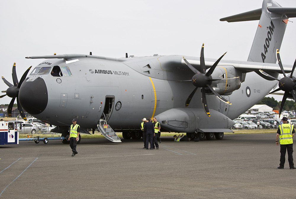 The Airbus A400M, the RAF's future transport aircraft, which was on display at the Farnborough Air Show.